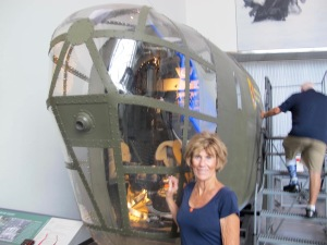 Jerri with the gunner's portion of a B-24D Liberator