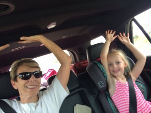 Kate loved to raise her arms on roller coasters, so we did it going on an on-ramp. What a kick!