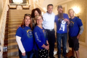 Jolee, Darcy (in front), Mrs. Sandoval, Governor Sandoval, Scott and Jason. Scott had just won a blue ribbon in the Nevada Day beard contest. The gray streak is natural!