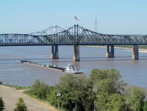 View of the Mississippi from Rosalie's grounds. That's a tug boat pushing barges