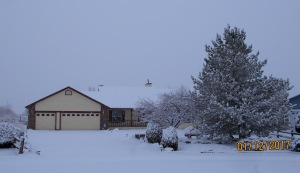 The first picture of my house with snow all around.