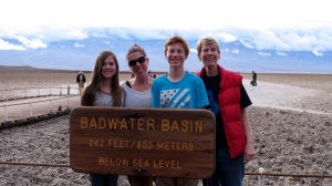 We drove to Badwater that arrival afternoon to see how it was doing and ran into many tourists. Like us, the weather was not going to deter them. Jerri took a much better picture than I did and that is why she's not in the photo instead of me.