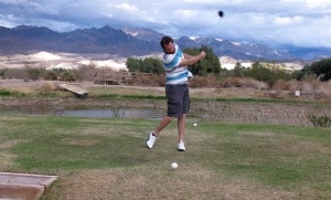 Golf is another activity we enjoy. I never do very well because the views, color changes on the mountains and coyotes and birds all distract me. The weather was perfect when I got the play the second time. None of us thought about taking a jacket (we should all know better because we live in a desert where the weather can change in 15 minutes). Dalan noticed that suddenly we couldn't see the mountains and thought a dust storm was on the way. Nope, it was rain. We got a pretty good soaking but we soldiered on through to the finish. I thought about giving up but didn't want the guys to think I was a wuss. Beside that, Scott loaned me a sweatshirt he had in his golf bag and I couldn't give up then.